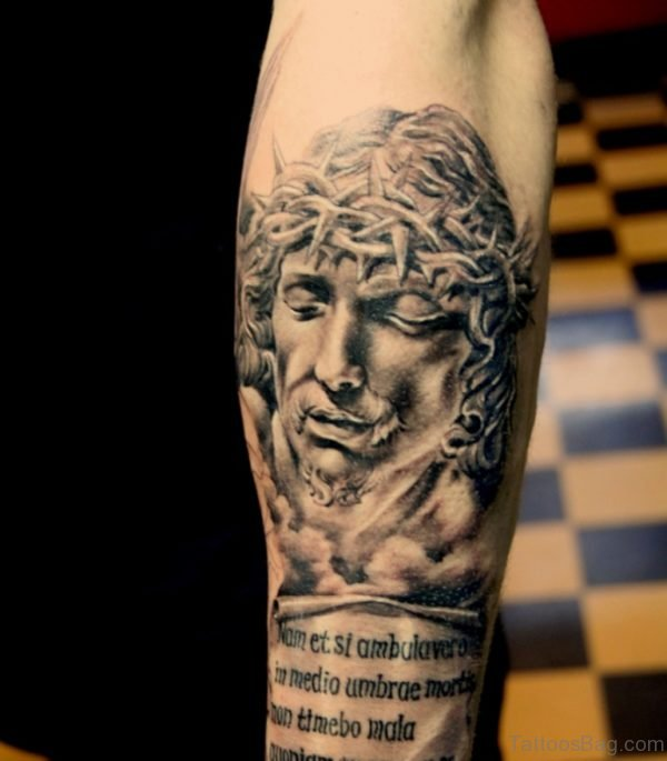 Wording And Jesus Tattoo