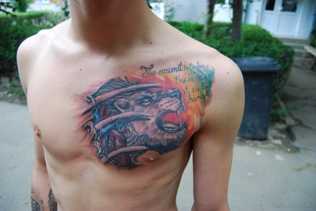 Lion tattoo shoulder chest