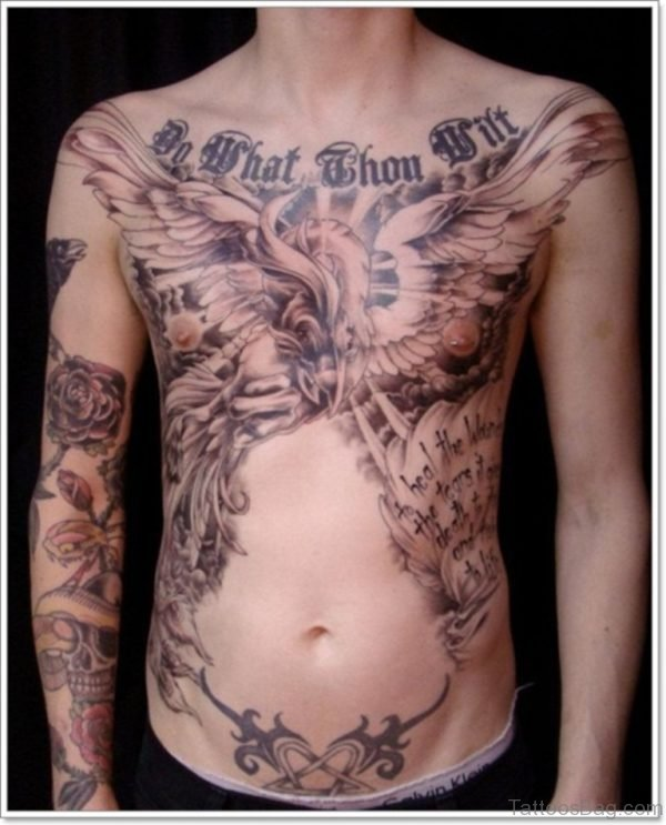 Wording And Phoenix Tattoo