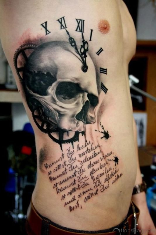 Wording And Skull Tattoo