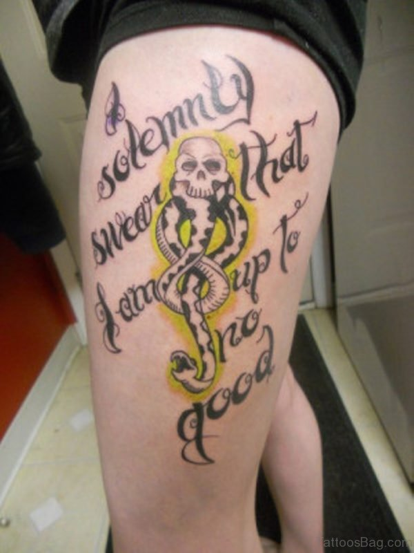Wording And Snake Tattoo