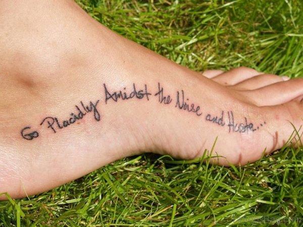 Wording Tattoo Design On Foot