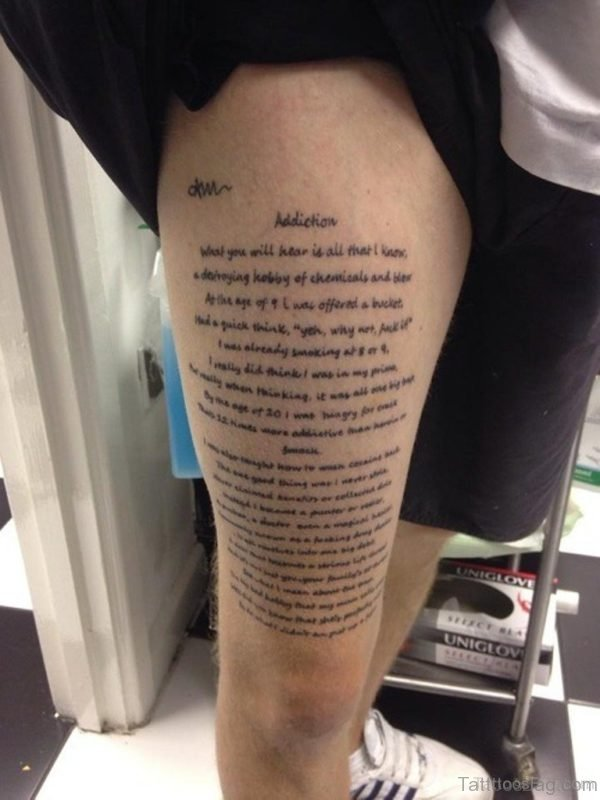 Wording Tattoo Design On Thigh