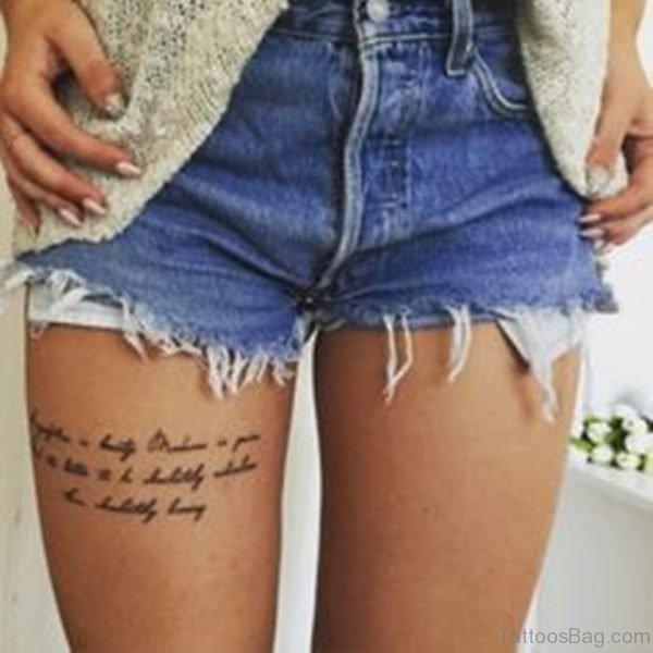 Wording Tattoo On Thigh