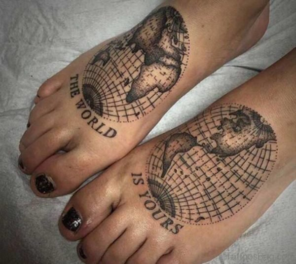 World Map Foot Tattoo