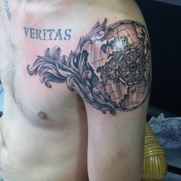 World Map Shoulder Tattoo
