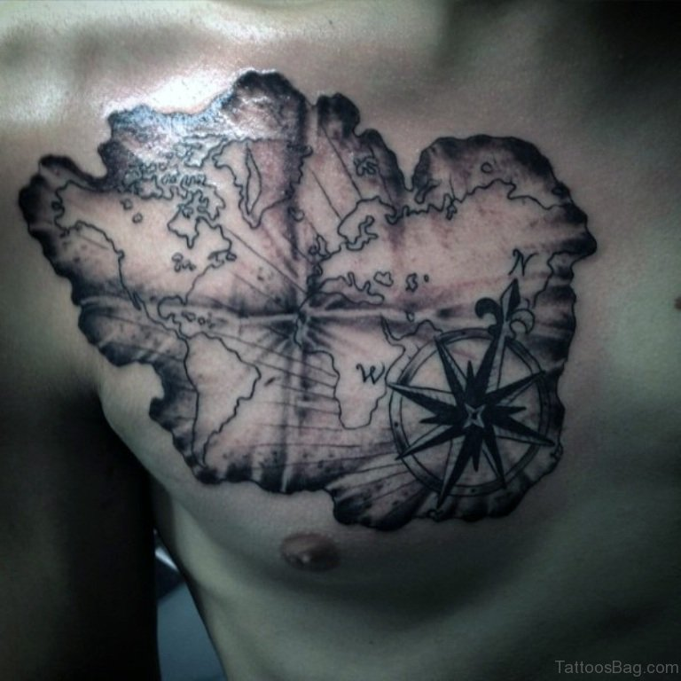51 attractive compass tattoo design on chest for World map tattoos