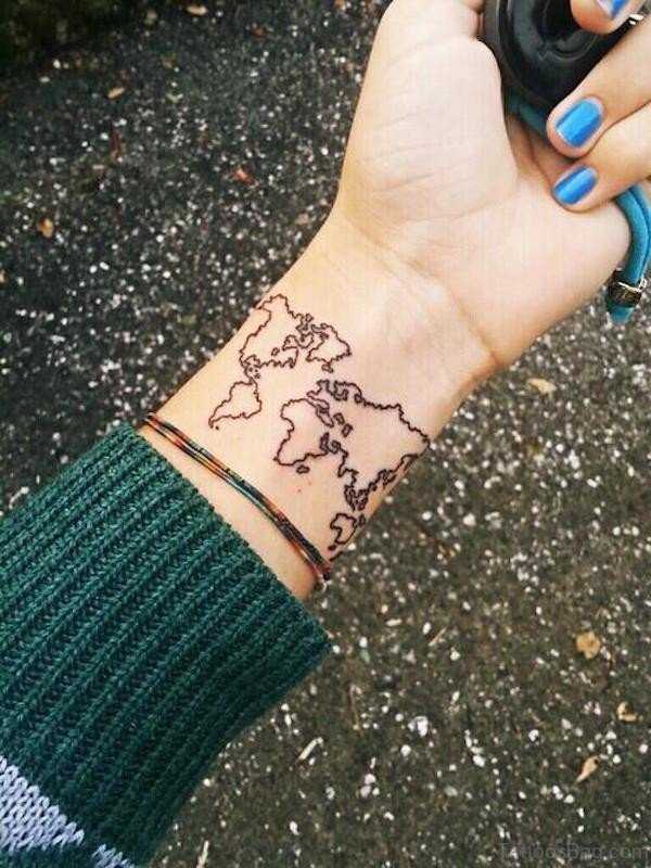 World Map Tattoo On Wrist
