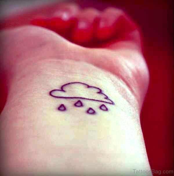 Wrist Raining Cloud Tattoo