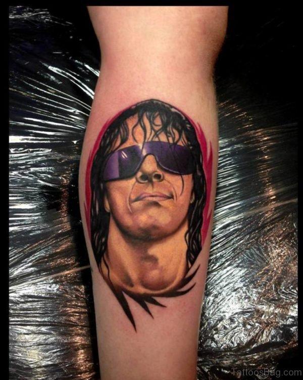 Wwe Legend Bret Hart Portrait Tattoo