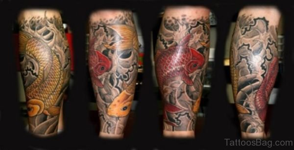 Yellow And Red Fish Tattoo Design
