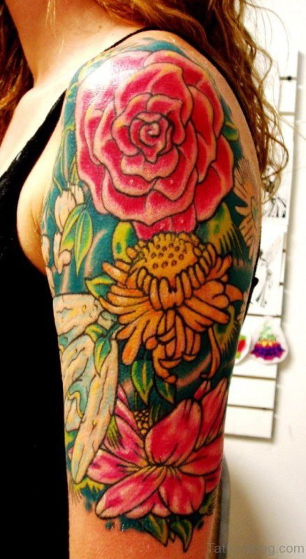 Yellow And Red Rose Flower Tattoo