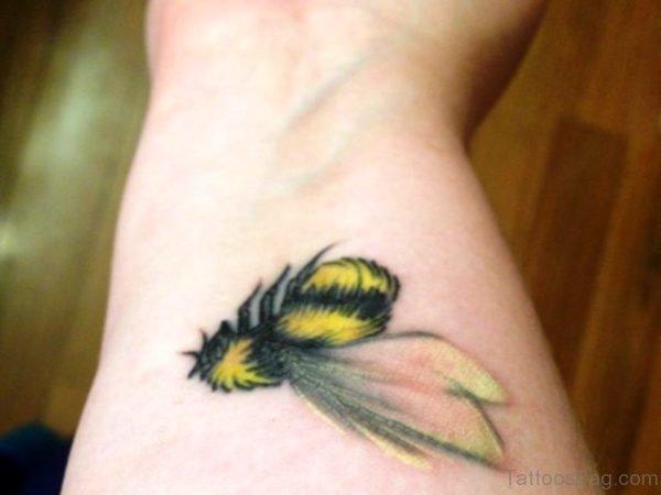 Yellow Bee Tattoo On Wrist