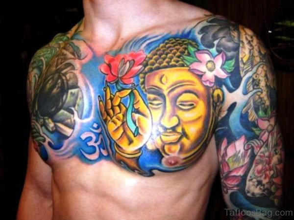 Yellow Buddha With Flowers Design