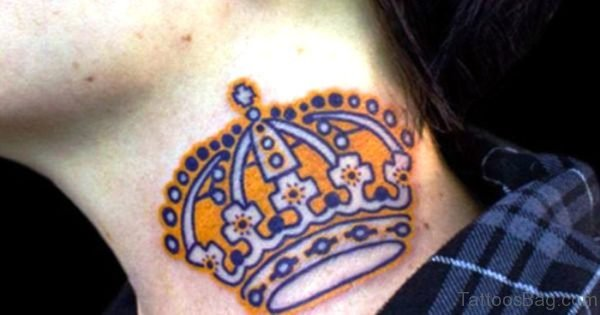 Yellow Crown Tattoo On Neck