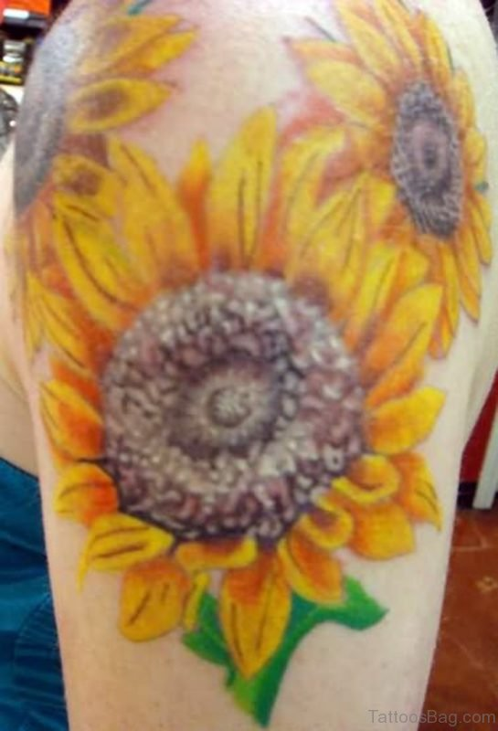 Yellow Inked Sunflower Tattoo