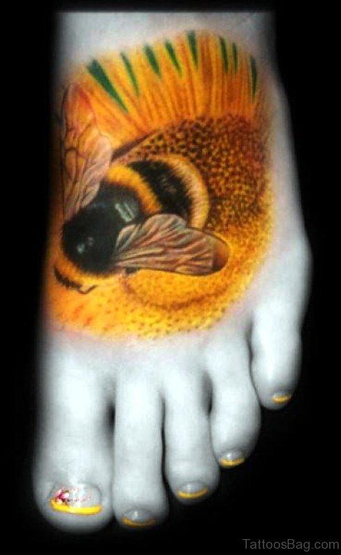 Yellow Massive Bee Tattoo