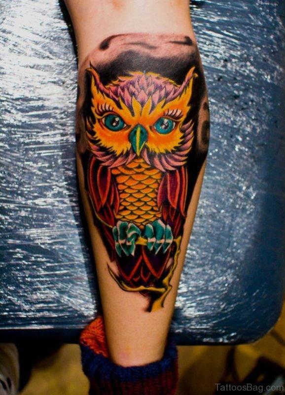 Yellow Owl Tattoo