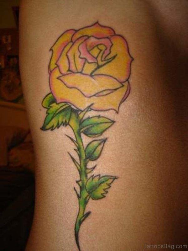 Yellow Rose Tattoo On Side Rib