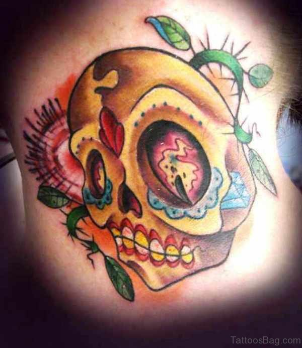 Yellow Skull Tattoo On Neck