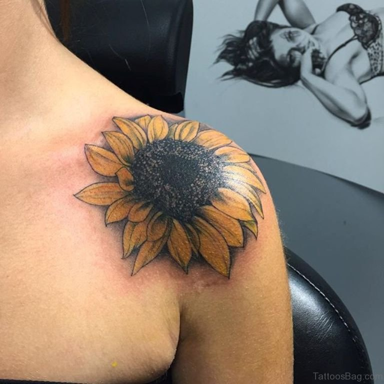 4a45e2344 Yellow Sunflower Tattoo Design On Front Shoulder