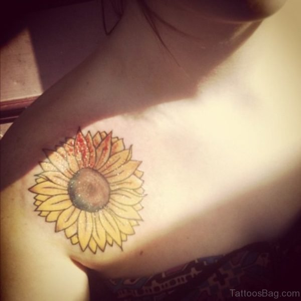 Yellow Sunflower Tattoo On Front Shoulder