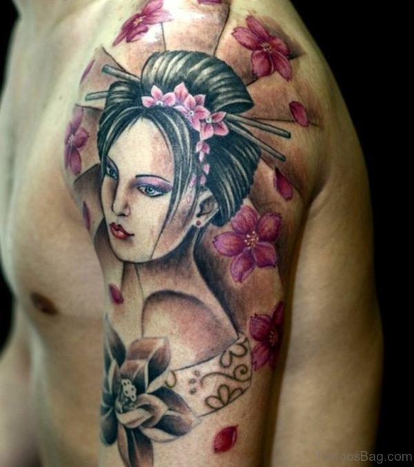 Young Geisha Tattoo On Shoulder