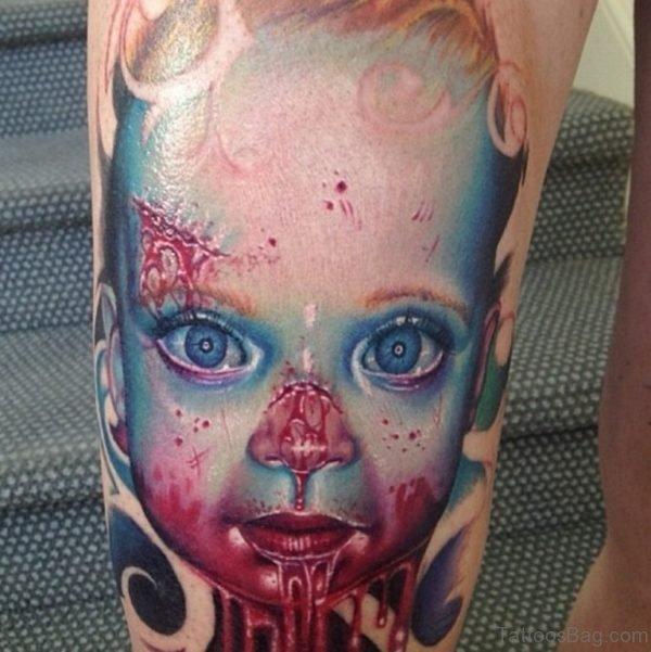 Zombie 3D Tattoo On Leg