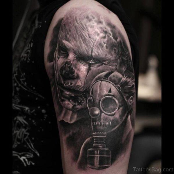 Zombie Apocalypse Mask Tattoo on Shoulder