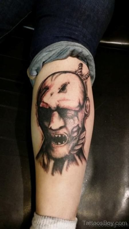 Zombie Face Tattoo On Leg