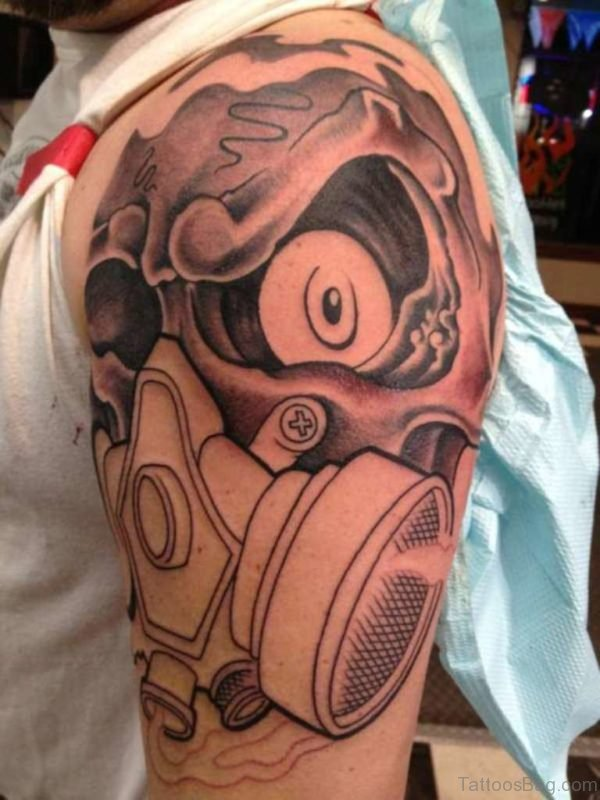 Zombie Gas Mask Tattoo On Shoulder