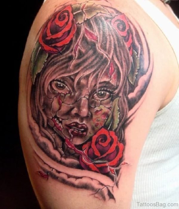 Zombie Girl Head With Red Roses Tattoo On Shoulder