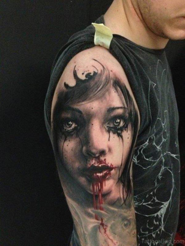 Zombie Girl Portrait Tattoo