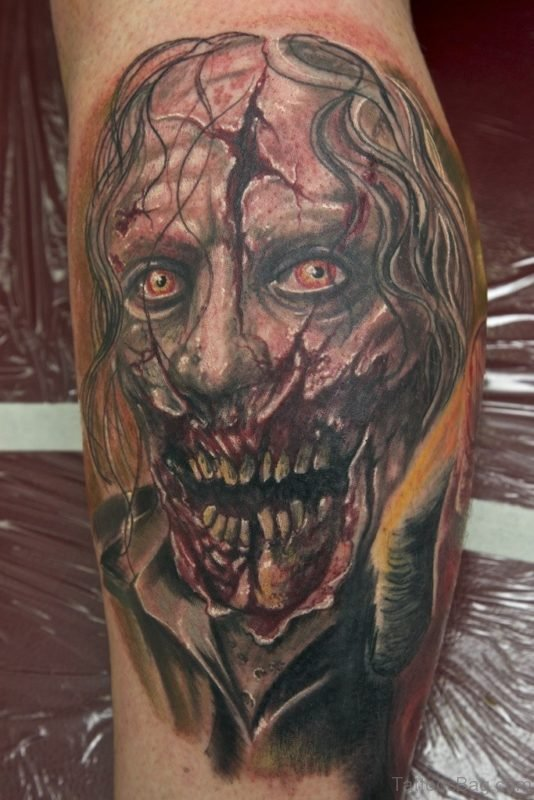 Zombie Tattoo Design For Leg