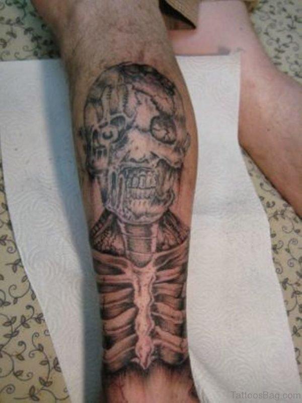 Zombie Tattoo Design On Leg Image