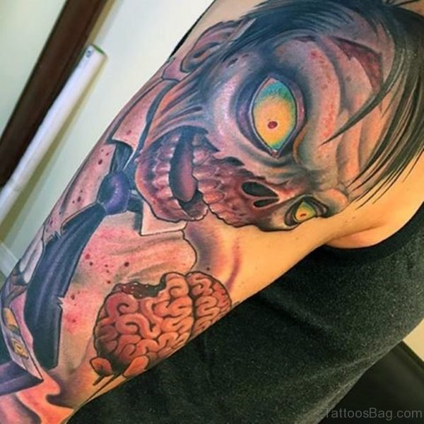 Zombie With Brain Tattoo On Shoulder