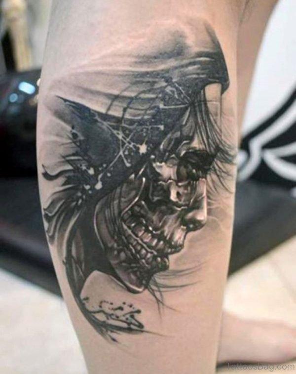 Ace Skull Tattoos On Mens Leg