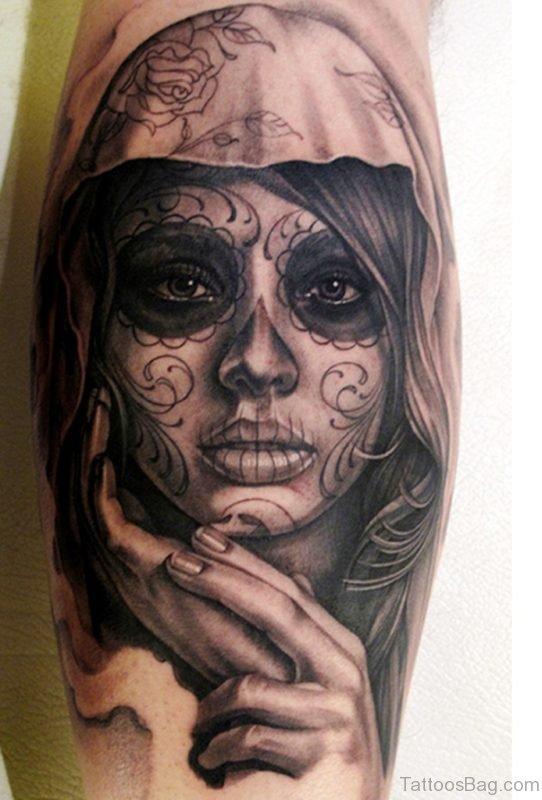 Eautiful Dia De Los Muertos Girl Portrait Tattoo