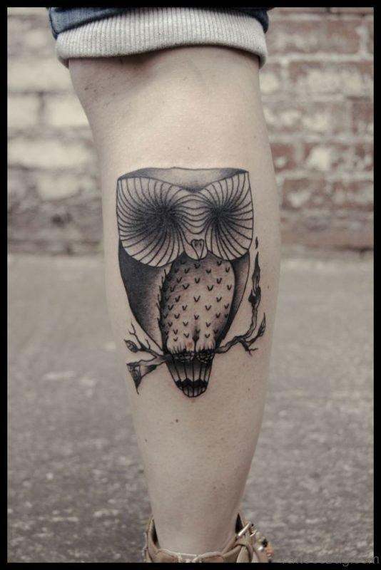 Graceful Owl Tattoo On Leg