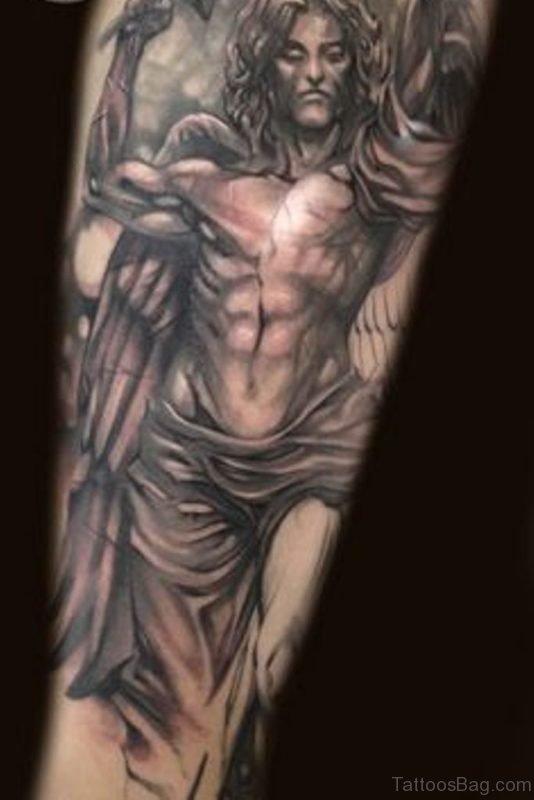 Grey Angel Tattoo On Leg