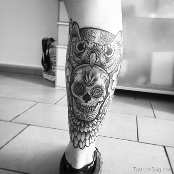 Grey Owl And Skull Tattoo