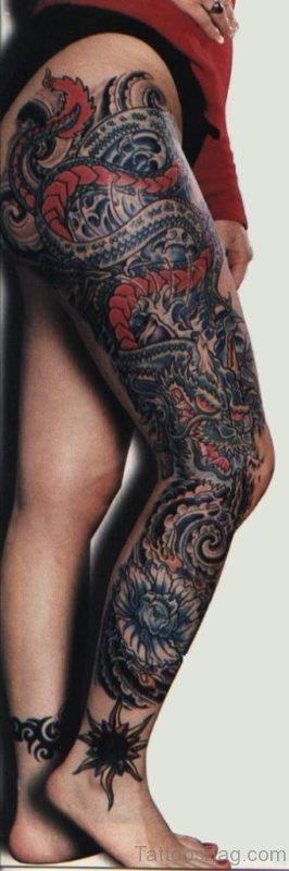 Hinese Dragon Tattoo On Full Leg