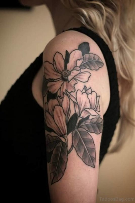 Simple Magnolia Flower Tattoo Design