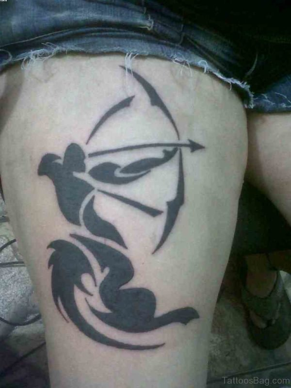 Sagittarius Tattoo On Thigh