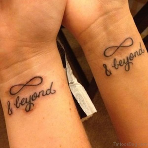 Nfinity Beyond Wording Tattoo On Couple Wrist