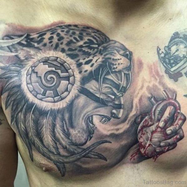 Onderful Grey Angry Aztec Jaguar Tattoo