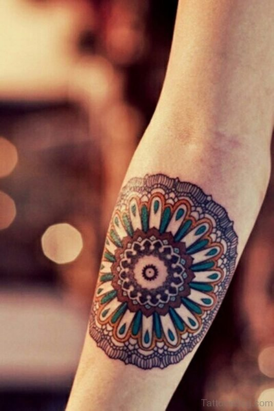 Red Mandala Tattoo On Arm