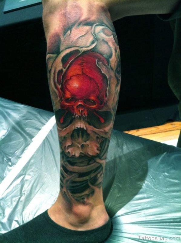 Red Skull Tattoo On Leg