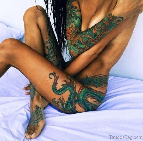 Stylish Dragon Tattoo On Thigh