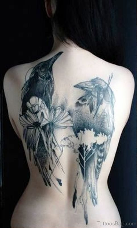 2 Crows Tattoo On Back